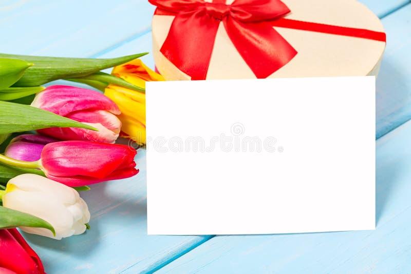 Bunte Frühlingstulpe blüht mit dekorativem giftbox und leerem Foto auf hellblauem hölzernem Hintergrund als Grußkarte Mothersday stockbilder