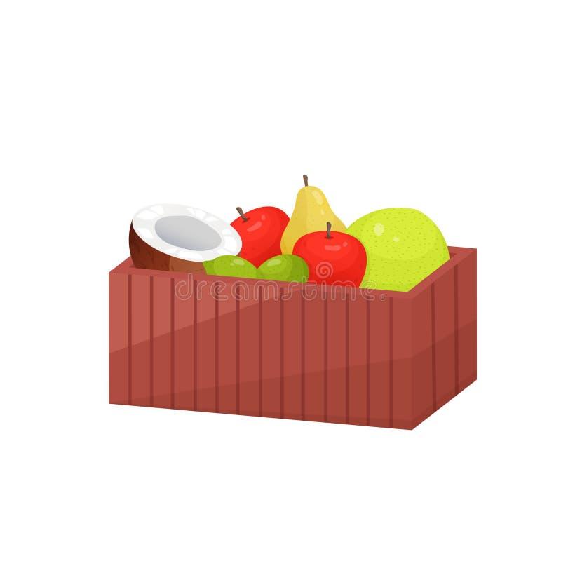 Bunte Frucht im hölzernen großen rechteckigen Kasten lokalisiert über weißem Hintergrund vektor abbildung