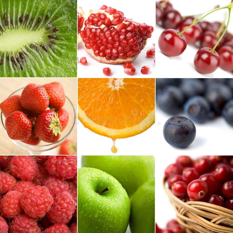 Bunte Fruchtcollage von neun Fotos lizenzfreies stockbild