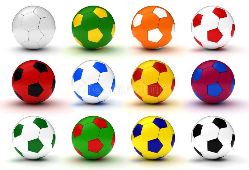 Bunte Fußball-Kugeln lizenzfreie abbildung