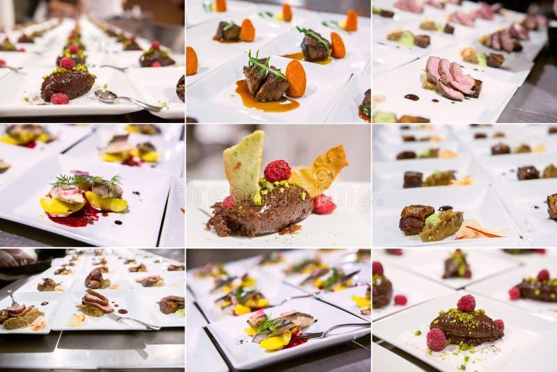 Bunte Fusions-Küche (feinschmeckerische köstliche Teller und Lebensmittel-Verpflegung) stockbild