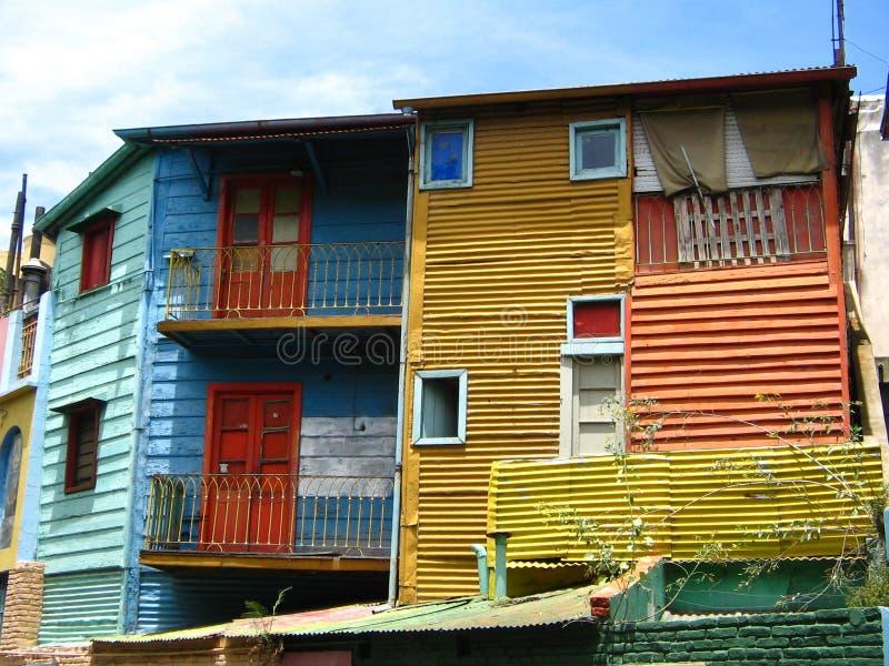 Bunte Gebäude im La Boca, Buenos Aires lizenzfreies stockbild