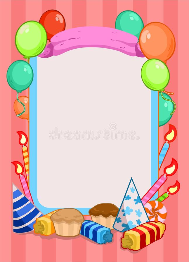 Bunte Geburtstagsfeier-Einladungs-Schablone lizenzfreie abbildung