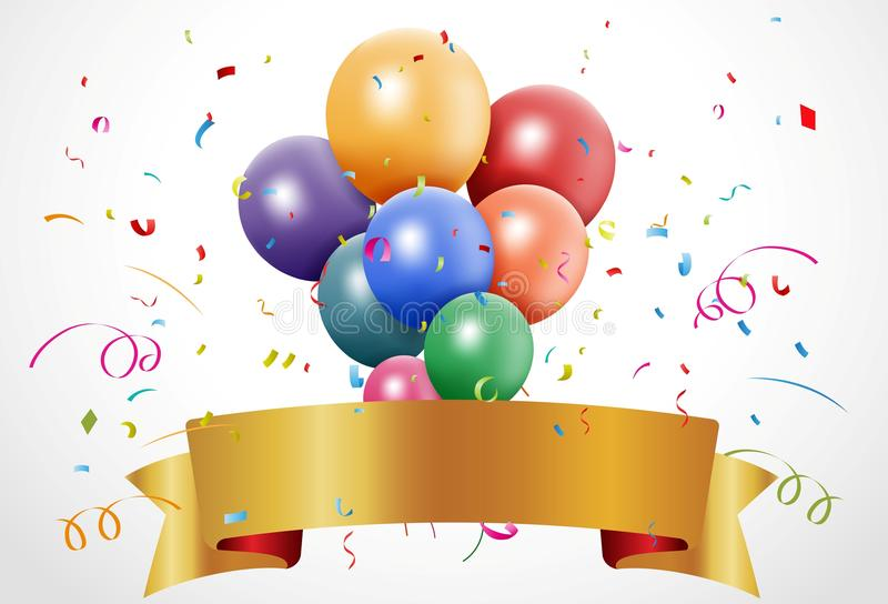 Bunte Geburtstagsfeier mit Ballon und Band stock abbildung