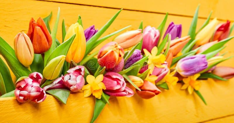 Bunte gelbe Fahne mit frischen Frühlingsblumen stockfoto