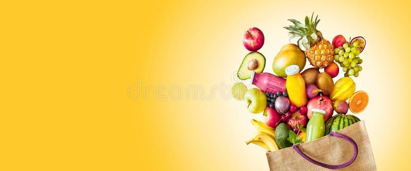 Bunte gelbe Panoramafahne der tropischen Frucht stockbilder