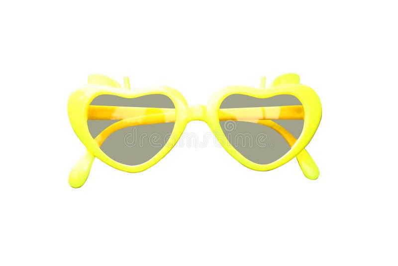 Bunte gelbe Plastiksonnenbrille lokalisiert auf weißem Hintergrund stockfoto
