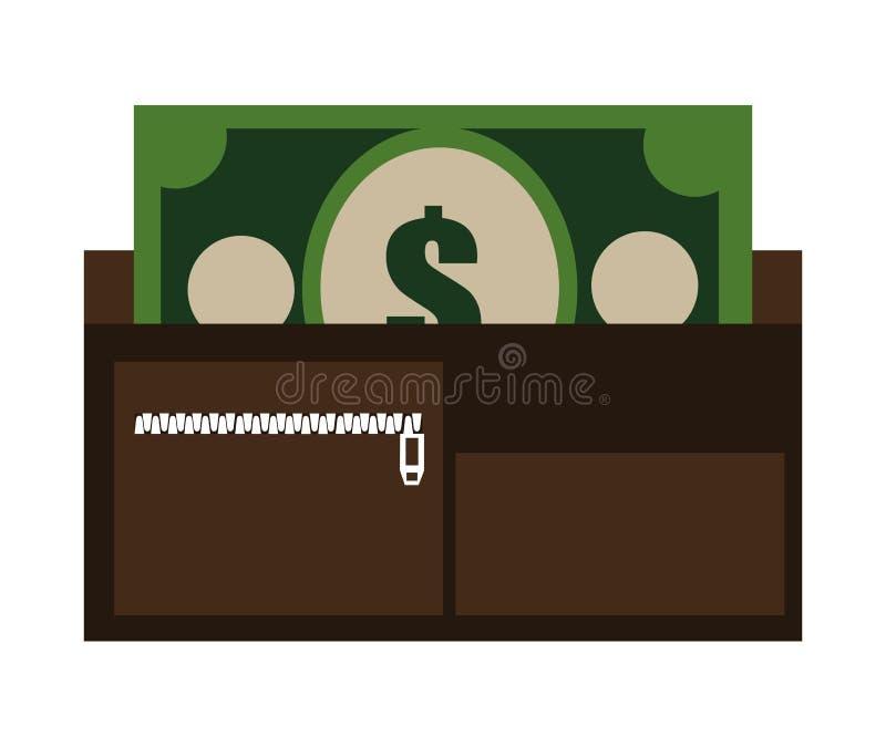 bunte Geldbörse mit Karten und Bargeld, Grafik lizenzfreie abbildung