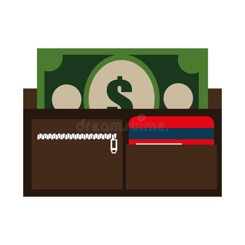 bunte Geldbörse mit Karten und Bargeld, Grafik vektor abbildung