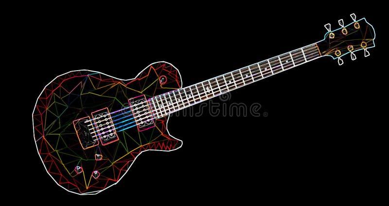 Bunte geometrische Gitarre bildete sich durch Dreiecke mit einem Neoneffekt stockfotos