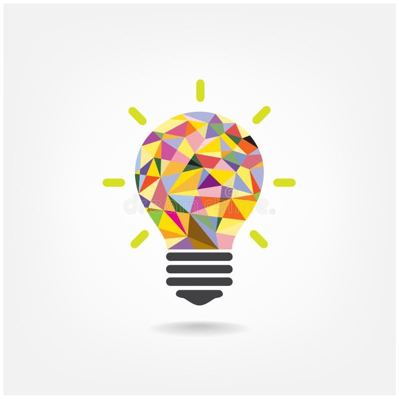 Bunte geometrische kreative Konzept-BU der Glühlampe stock abbildung