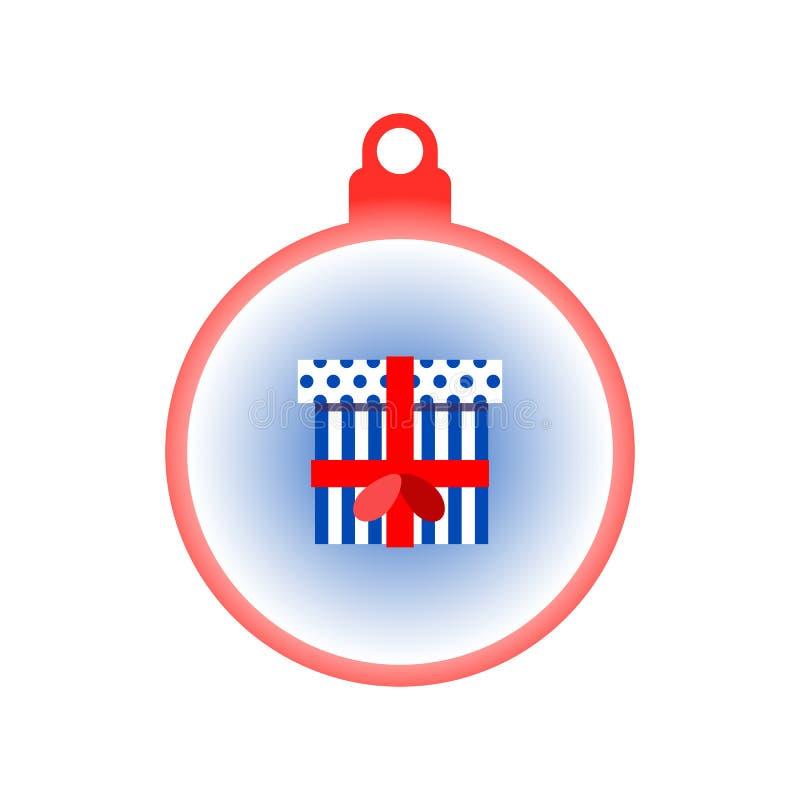 Bunte Geschenkbox in einem Weihnachtsball mit Band lizenzfreie abbildung