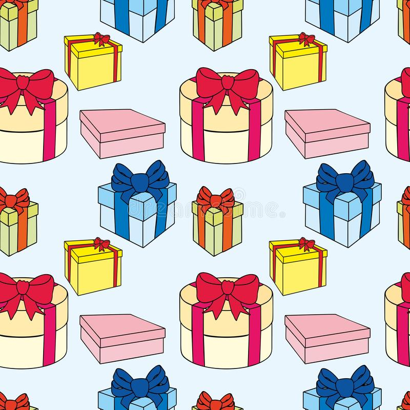 Bunte Geschenkboxen mit B?gen und B?ndern Vector nahtlose Abbildung stock abbildung