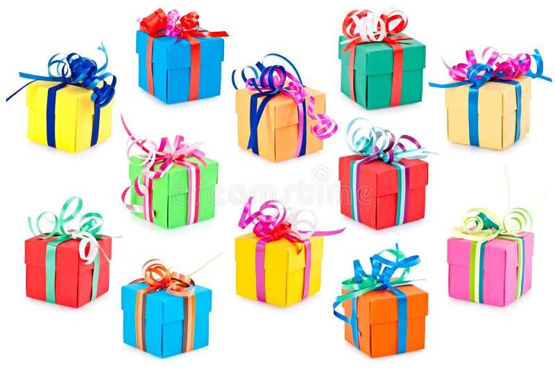 Bunte Geschenkkästen stockfotos