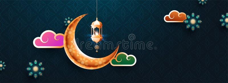 Bunte gl?nzende Illustration der Laterne, des Mondes und des Himmels auf Ramadan Kareem lizenzfreie abbildung