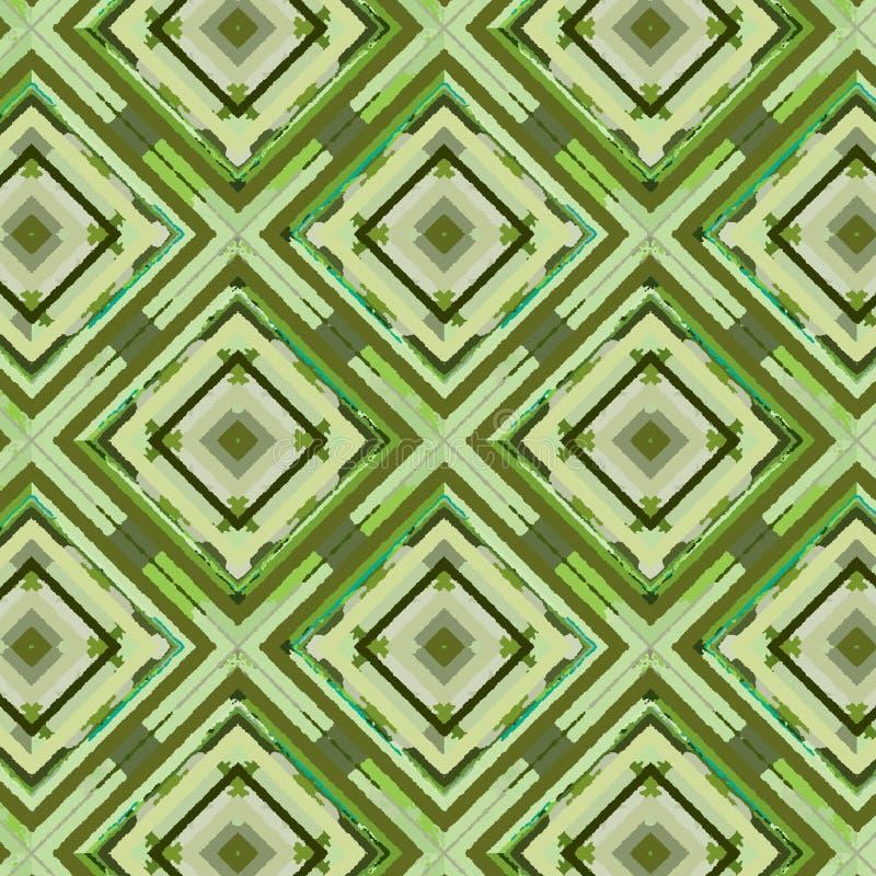 Bunte grüne Diamanten und Quadrate im nahtlosen Muster lizenzfreie abbildung