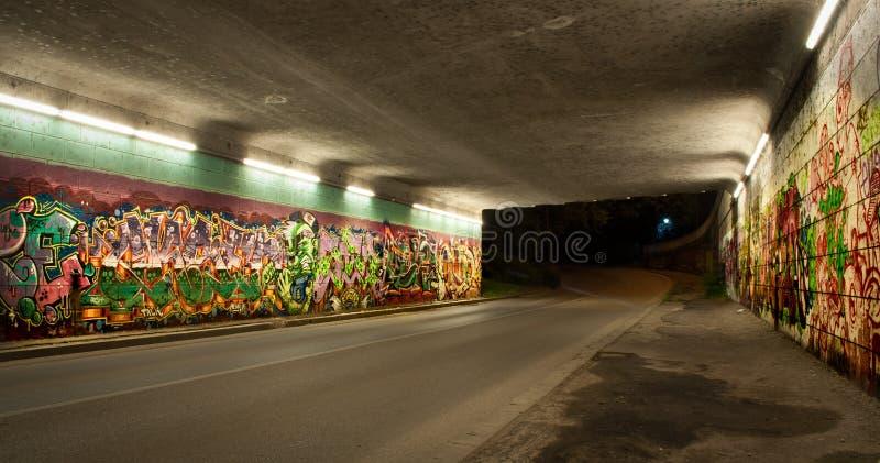 Bunte Graffiti im Selbsttunnel lizenzfreie stockfotos