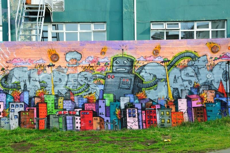 Bunte Graffiti in Reykjavik stockfoto
