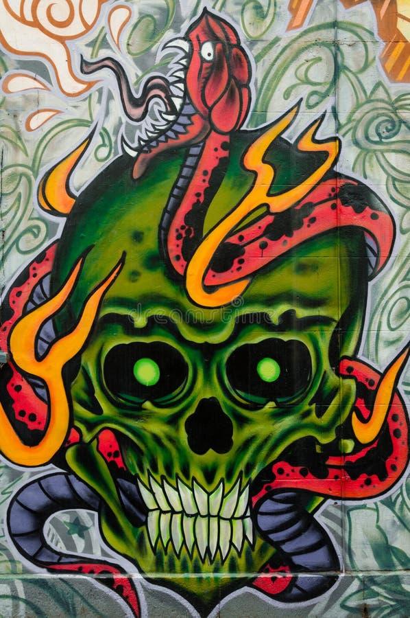 Bunte Graffitigrafik als Straßenkunst in Melbourne, Australien lizenzfreie stockbilder