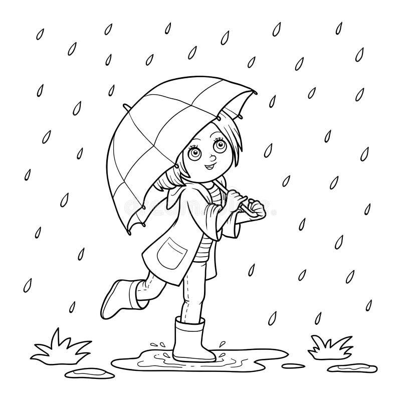 Bunte grafische Abbildung Mädchen, das mit einem Regenschirm im Regen läuft vektor abbildung
