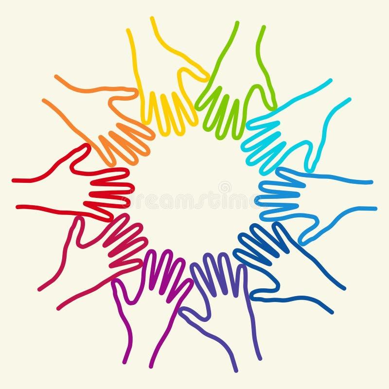 Bunte Hände der Leute zusammen vereinigt stock abbildung