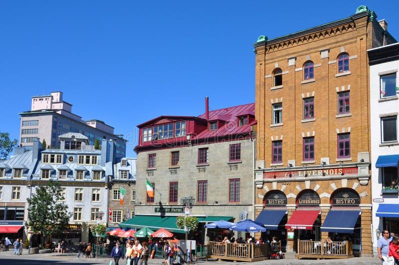 Bunte Häuser in altem Québec-Stadt, Kanada stockbild