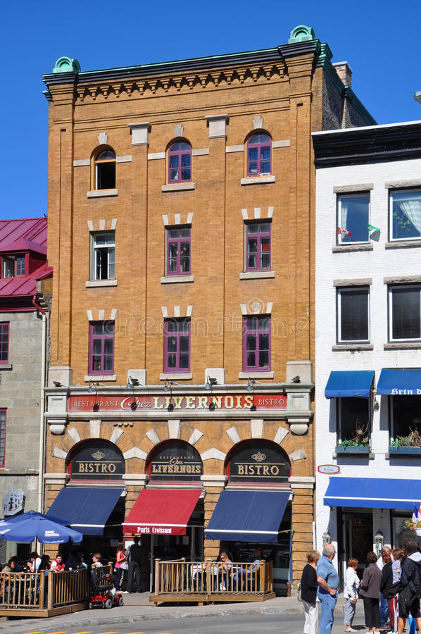 Bunte Häuser in altem Québec-Stadt, Kanada lizenzfreie stockfotos
