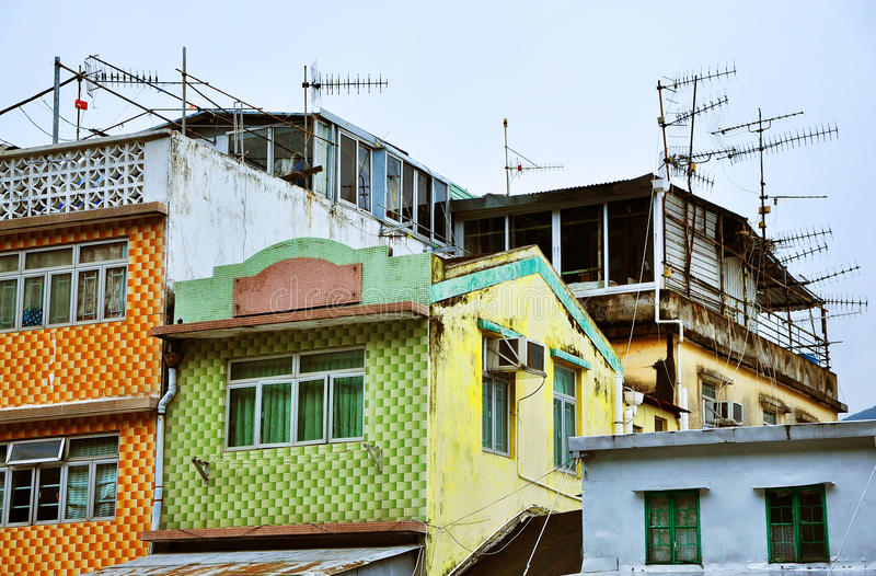 Bunte Häuser auf Insel Hong Kong Tais O lizenzfreie stockbilder