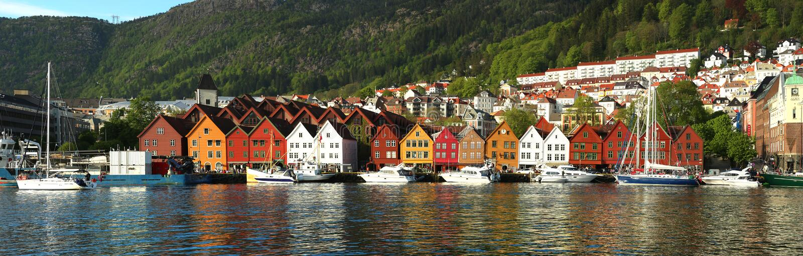 Bunte Häuser in Bergen in Norwegen stockfoto