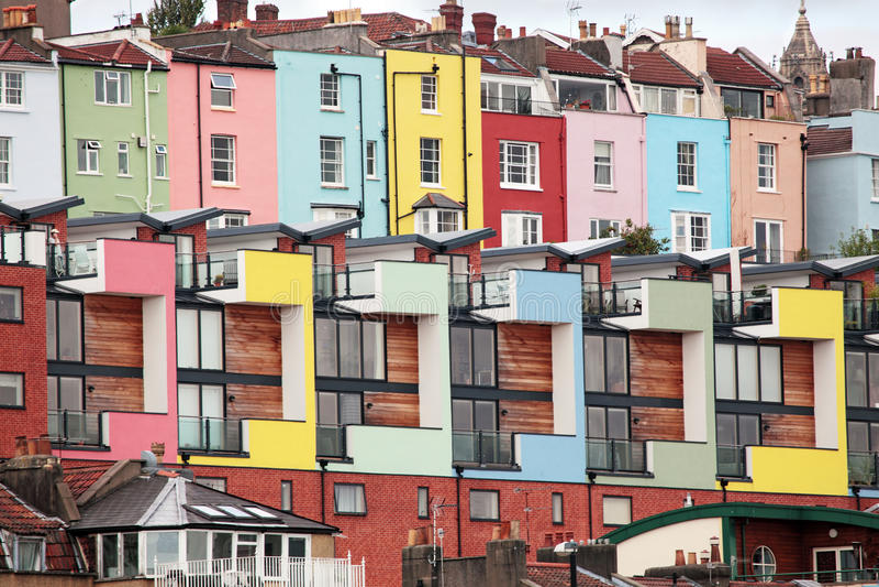 Bunte Häuser, Bristol, England lizenzfreies stockbild