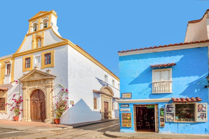 Bunte Häuser in der alten Stadt Cartagena, Kolumbien stockfotografie