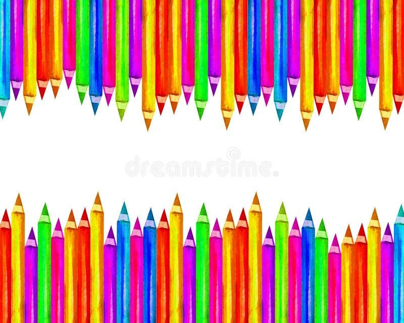 Bunte hölzerne Bleistifte der Fahne im Aquarell lokalisiert auf weißem Hintergrund, leerer Rahmen zurück zu Schul-, Kunst- und Kr stockfotografie