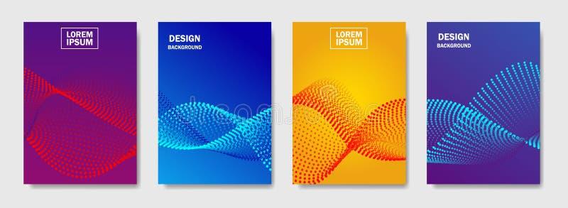 Bunte Halbtonlinien bewegen Abdeckung von Seitenaufstellungen entwerfen wellenartig Abdeckung des modernen Entwurfs mit Halbtonst lizenzfreie abbildung