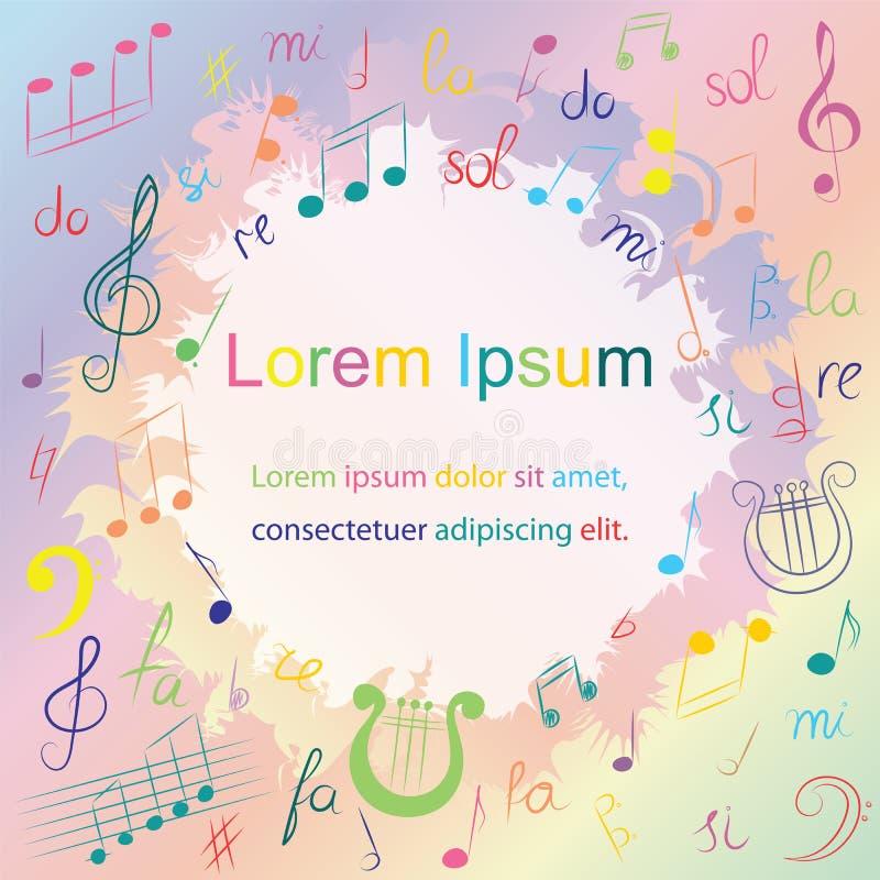 Bunte Hand gezeichnete Musik-Symbole Bunter Gekritzel-Violinschlüssel, Bass Clef, Anmerkungen und Leier lizenzfreie abbildung