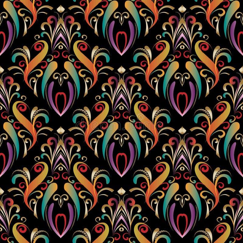 Download Bunte Hand Gezeichnete Nahtlose Musterverzierungen Des Damastes Vektor Abbildung - Illustration von schön, mehrfarben: 106804678