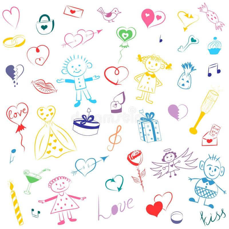 Bunte Hand gezeichneter Satz Valentinsgruß ` s Tagessymbole Kind-` s nette Zeichnungen von Herzen, von Geschenken, von Ringen, vo stock abbildung