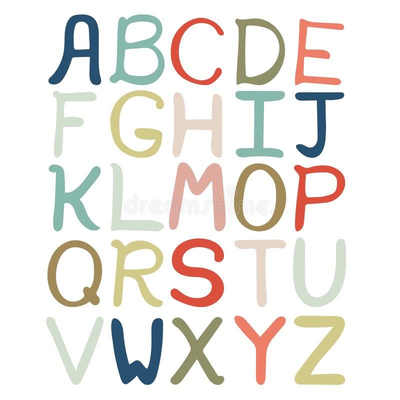 Bunte Hand gezeichnetes abstraktes Alphabet Alphabet lokalisiert, flache Art, Guss lokalisiert, Art vektor abbildung