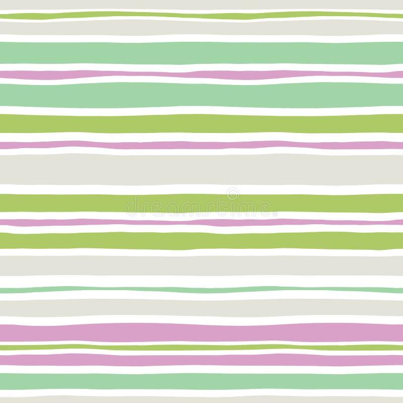 Bunte Handgezogene gewellte ungleiche horizontale Streifen auf weißer Backrgound-Vektor-nahtlosem Muster Klassische Zusammenfassu vektor abbildung