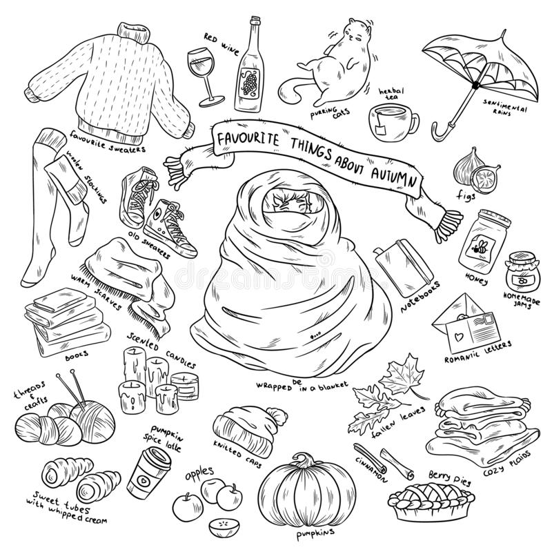 Bunte Handgezogener Gekritzelaufkleber-Karikatursatz Herbstgegenstände mit Beschriftung vektor abbildung