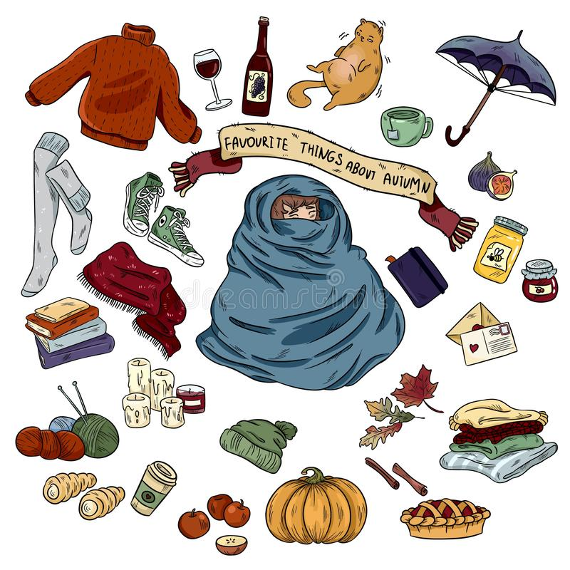 Bunte Handgezogener Gekritzelaufkleber-Karikatursatz Herbstgegenstände und -symbole lizenzfreie abbildung