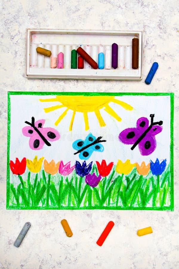 Bunte Handzeichnung: schöne Blumen und Schmetterlinge lizenzfreies stockfoto