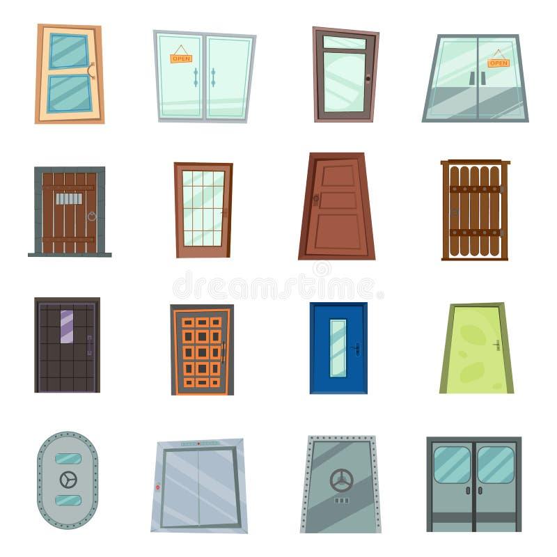 Bunte Haustüren zu den Häusern und zu den Gebäuden stellten in flache Designart ein Set der verschiedenen Türen auf dem weißen Hi vektor abbildung