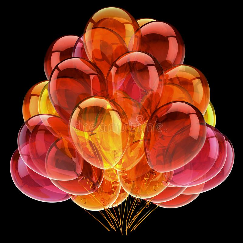 Bunte Heliumballone bündeln das orange gelbe glatte Rot vektor abbildung