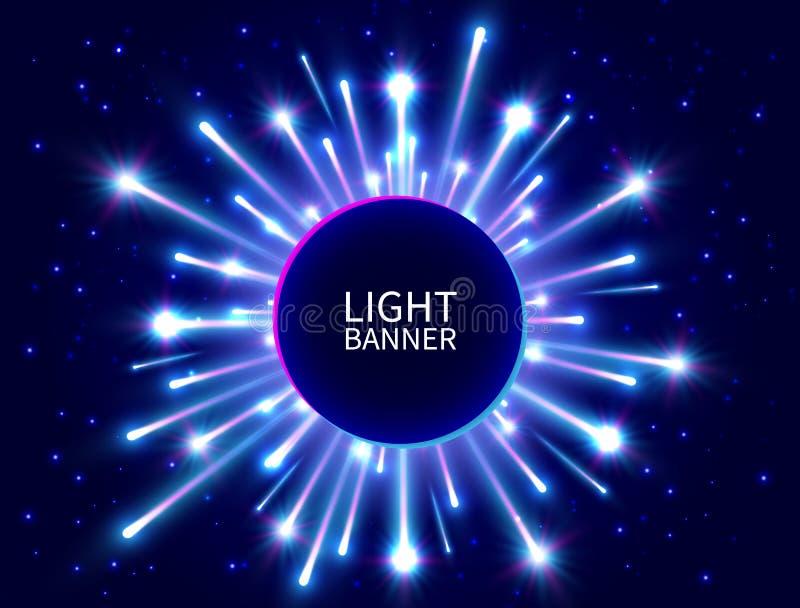 Bunte helle Fahne mit glühenden Strahlen Glänzende Neonkreisfahne Helles Feuerwerk Blauer Stern sprengte Hintergrund des neuen Ja vektor abbildung