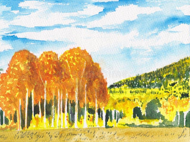 Bunte helle Herbstlandschaft Fallhintergrund Handgemalte Illustration des Aquarells Bäume skizzieren, goldene Waldszenenkarte stock abbildung