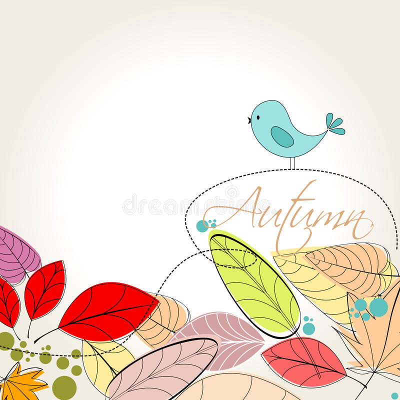 Bunte Herbstblätter und Vogelabbildung stock abbildung
