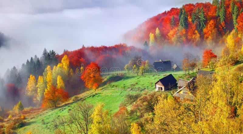 Bunte Herbstlandschaft im Bergdorf Nebeliger Morgen stockbilder