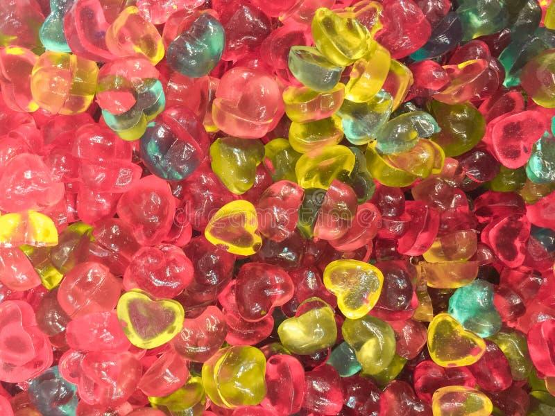 Bunte Herzform Jelly Candy-Snackgruppe Bonbon für Valentinsgrußtageshintergrund lizenzfreies stockbild