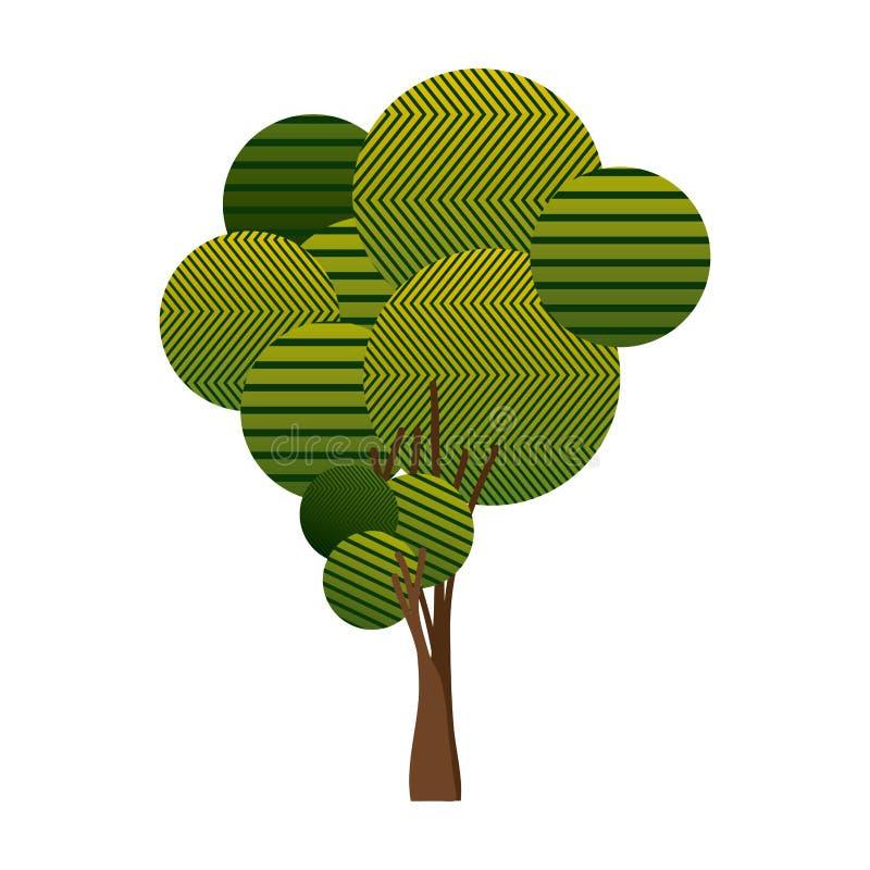 bunte hohe Baumanlage mit abstrakten Linien lizenzfreie abbildung