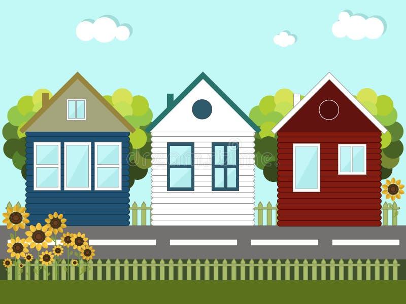 Bunte Holzhäuser nachbarn lizenzfreie abbildung